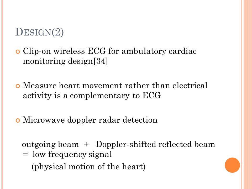 Design(2) Clip-on wireless ECG for ambulatory cardiac monitoring design[34]